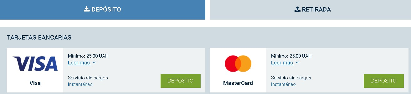 1xBet bank cards